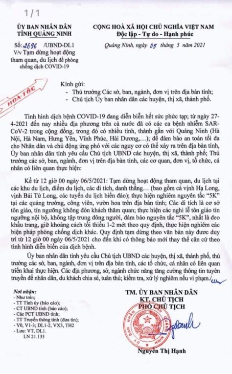 Thông báo tạm dừng hoạt động du lịch tại tỉnh Quảng Ninh phòng chống Covid-19 ngày 06/5/2021